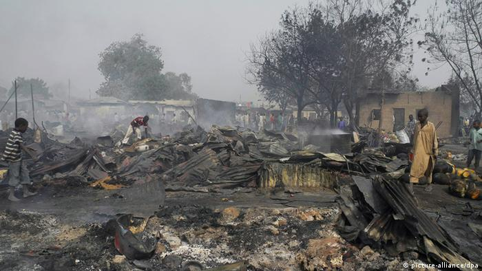 The scene at Gamboru market after multiple explosions in Maiduguri, northern Nigeria in February 2012. EPA/STR
