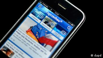 Front page of Tagesschau online on a smart phone