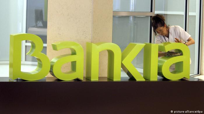 Yellow-lettered logo of the Spanish bank Bankia