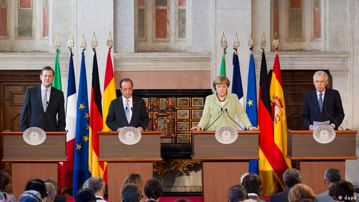 Mariano Rajoy, Francois Hollande, Angela Merkel and Mario Monti