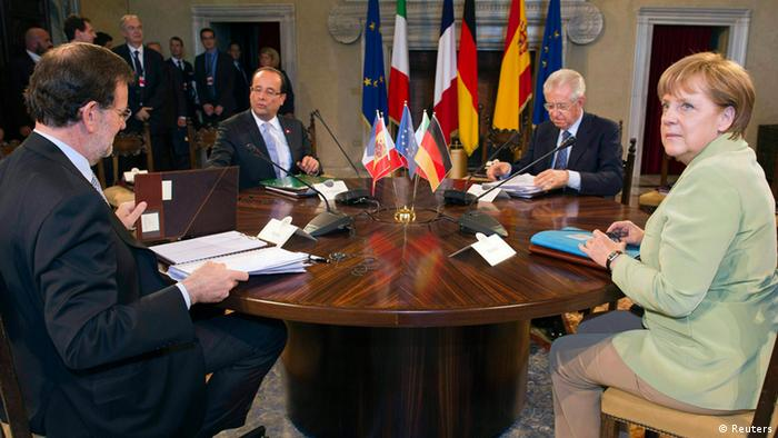 From L - R: Spanish Prime Minister Mariano Rajoy, French President Francois Hollande, Italian Prime Minister Mario Monti and German Chancellor Angela Merkel (photo: REUTERS/Lionel Bonaventure/Pool)