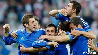 Grecia celebra el gol de Samaras.