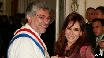 Paraguay's President Fernando Lugo, left, shakes hands with Argentina's President Cristina Fernandez de Kirchner after his inauguration ceremony in Asuncion, Friday, Aug. 15, 2008. Leftist ex-bishop Fernando Lugo became Paraguay's president on Friday, ending six decades of one-party rule in a key step in the poor South American nation's democratic transformation. (ddp images/AP Photo/Jorge Saenz).