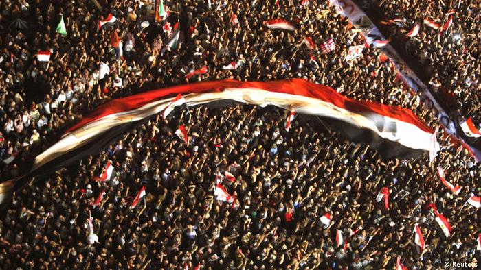 Supporters of Muslim Brotherhood's presidential candidate Mohamed Morsy demonstrate against the delay of the Egyptian presidential results