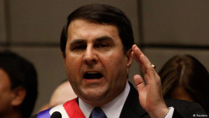 New Paraguayan President Federico Franco gives a speech after his swearing-in at the Congress in Asuncion