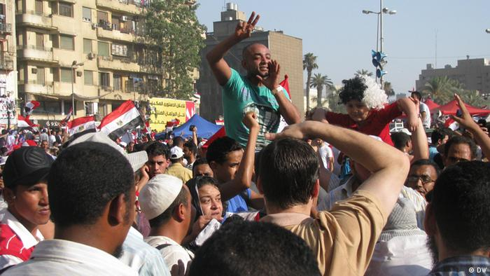 Crowds in Tahrir Square, Cairo after Morsi's victory was declared.
