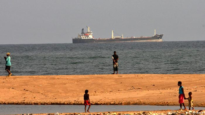 A tanker sails past the coast of West Africa