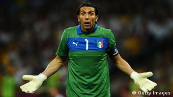 KIEV, UKRAINE - JUNE 24: Gianluigi Buffon of Italy reacts during the UEFA EURO 2012 quarter final match between England and Italy at The Olympic Stadium on June 24, 2012 in Kiev, Ukraine. (Photo by Laurence Griffiths/Getty Images)
