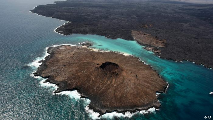 An aerial view of Sombrero Chino Island, Galapagos Islands, .
