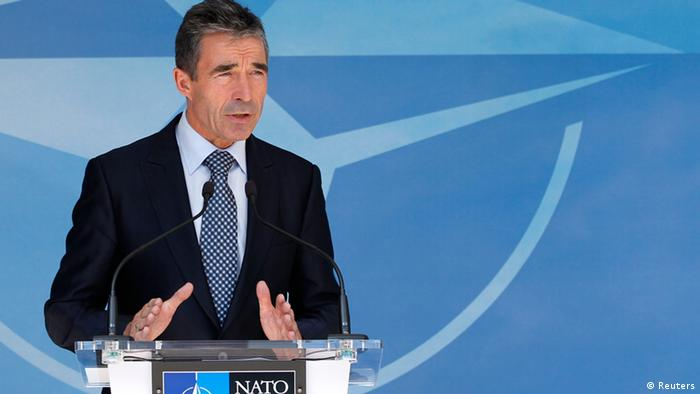 NATO Secretary General Anders Fogh Rasmussen briefs the media after a meeting of the North Atlantic Council at the Alliance headquarters in Brussels; Photo: REUTERS/Francois Lenoir