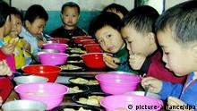 North Korean school children have lunch at a nursery in Pochon county, in Ryanggang province in North Korea, 03 April 2002, that includes fortified blended foods supplied by the UN World Food Programme. North Korea, a country of 23 million people, has depended on international food aid in recent years after a series of floods, droughts and harsh winters. dpa