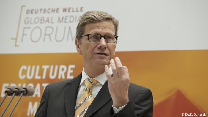 Bundesaußenminister Guido Westerwelle auf dem Deutsche Welle Global Media Forum 2012 (26.06.2012) in Bonn.