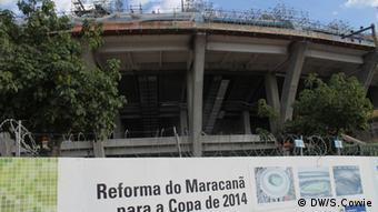 The Maracana stadium under construction.