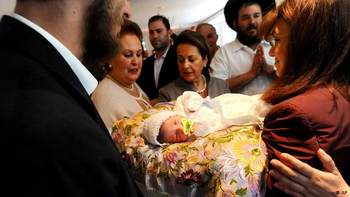 A Jewish circumcision ceremony in San Francisco.