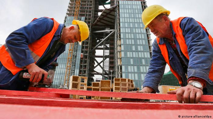 Polish construction workers in Frankfurt