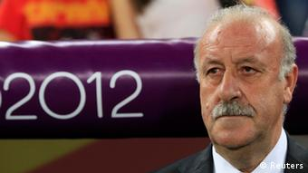 Spain's coach Vicente del Bosque is pictured before their Euro 2012 semi-final soccer match against Portugal at the Donbass Arena in Donetsk, June 27, 2012. REUTERS/Eddie Keogh (UKRAINE - Tags: SPORT SOCCER)