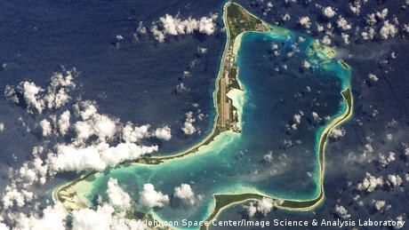 Atoll of Diego Garcia seen from above