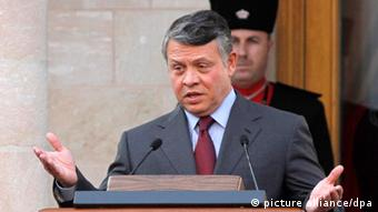 Jordan's King Abdullah II delivers a speech at the Raghadan Palace in Amman, Jordan, on 14 August 2011. King Abdullah II on Sunday announced that a royal committee had adopted history-making amendments to the constitution that would institutionalize political reforms. The amendments included the setting up of a constitutional court, the supervising of general elections by an independent committee and the trial of cabinet ministers in civil courts, he told a meeting at the royal palace shortly after receiving the panel's recommendations. EPA/JAMAL NASRALLAH