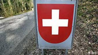 A Swiss cross at a border crossing