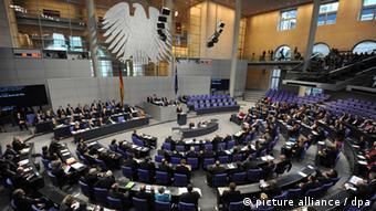 The German Bundestag (lower house of parliament) in Berlin