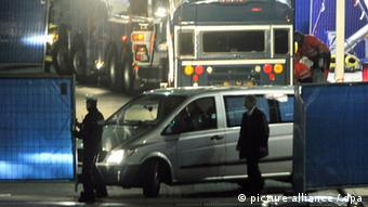 The victims of the terrorist attack at Frankfurt Airport are transported from the scene