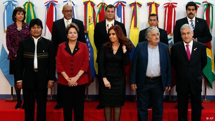 Reunião da Unasul em 2012: só Maduro e Morales seguem no poder