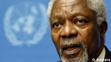 Joint Special Envoy of the United Nations and the Arab League for Syria Kofi Annan gestures during a news conference after the meeting of the Action Group on Syria at the United Nations European headquarters in Geneva, June 30, 2012. REUTERS/Valentin Flauraud (SWITZERLAND - Tags: POLITICS HEADSHOT)
