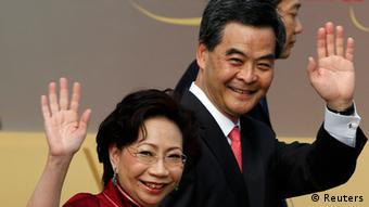 Hong Kong's Chief Executive Leung Chun-ying and his wife Regina