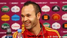 gettyimages 147158289. DONETSK, UKRAINE - JUNE 26: In this handout image provided by UEFA, Andres Iniesta of Spain talks to the media during a UEFA EURO 2012 press conference at the Donbass Arena on June 26, 2012 in Donetsk, Ukraine. (Photo by Handout/UEFA via Getty Images)