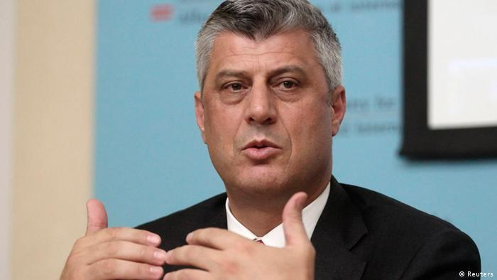 Kosovo's Prime Minister Hashim Thaci addresses a news conference after a meeting of the International Steering Group for Kosovo in Vienna July 2, 2012. REUTERS/Heinz-Peter Bader (AUSTRIA - Tags: POLITICS HEADSHOT)