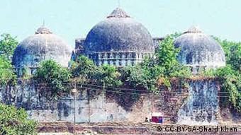 Babri Mosque, built in 1528, before its destruction