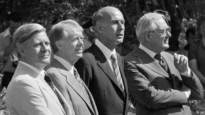 Helmut Schmidt, Jimmy Carter, Giscard d'Estaing i James Callaghan na susretu 1979., tada je još to bio G4