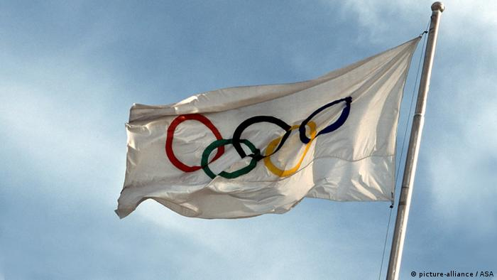 048-OlympischeSpiele/_ Diverse/Olympiaflagge# , Olympia-Flagge , Olympische Ringe , Fahne