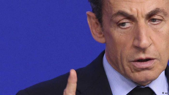 French President Nicolas Sarkozy gestures during a media conference at an EU summit in Brussels on Sunday, Oct. 23, 2011. (ddp images/AP Photo/Yves Logghe)