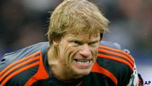 ** FILE **FC Bayern Munich's goalkeeper Oliver Kahn grimaces during a German first division soccer match between Hertha BSC Berlin and FC Bayern Munich at the Olympic stadium in Berlin, Germany, March 3, 2007. Bayern Munich captain Oliver Kahn has apologized to UEFA for improper behavior at the post-match doping control following a Champions League win against Real Madrid and hopes to avoid a suspension. Goalkeeper Kahn and defender Lucio were picked randomly for the doping control after the 2-1 victory on March 7 and UEFA has accused them of breaching basic rules of good conduct. I am sorry. It was not OK and I would like to apologize to the doping doctor, Kahn said Tuesday, March 20. 2007. (ddp images/AP Photo/Franka Bruns)