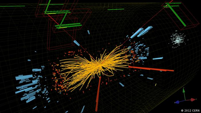 Experiments at CERN in Geneva showed how particle collisions behaved and in this case the decay of a Higgs boson (2012 CERN)