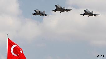 Turkish fighter jets during a ceremony on Victory Day in Ankara. (AP Photo/Burhan Ozbilici, File)
