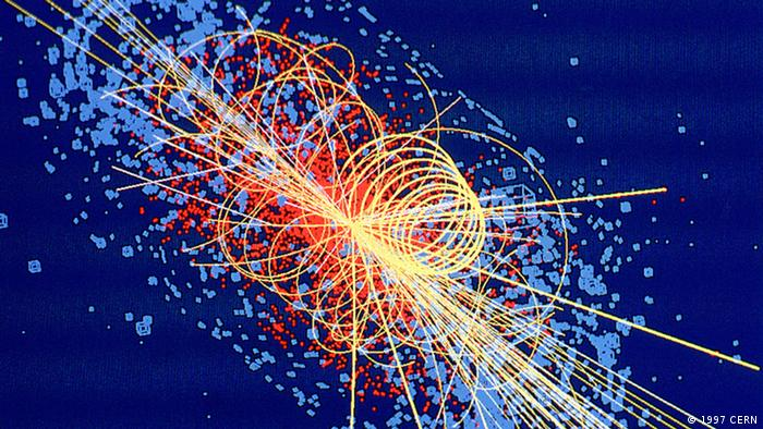 ***Das Pressebild darf nur in Zusammenhang mit einer Berichterstattung über CERN verwendet werden*** CMS: Higgs boson decays to four muons This track is an example of simulated data modelled for the CMS detector on the Large Hadron Collider (LHC) at CERN, which will begin taking data in 2008. The Higgs boson is produced in the collision of two protons at 14 TeV and quickly decays into four muons, a type of heavy electron which is not absorbed by the detector. The tracks of the other products of the collision are shown by lines and the energy deposited in the detector is shown in blue. https://cdsweb.cern.ch/record/39444 © 1997 CERN