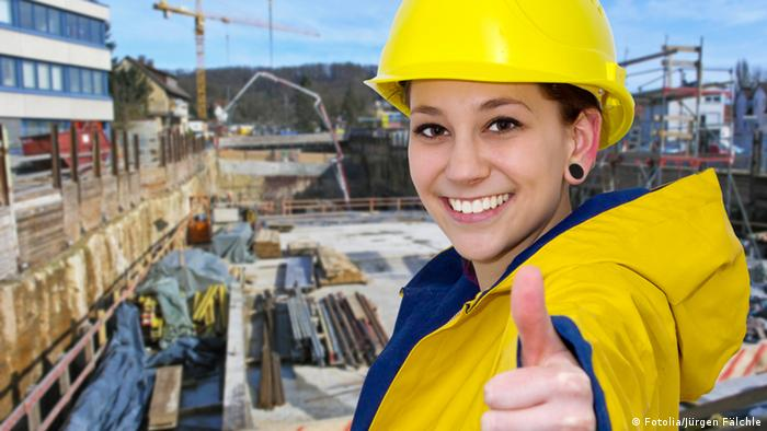Young woman on a building site