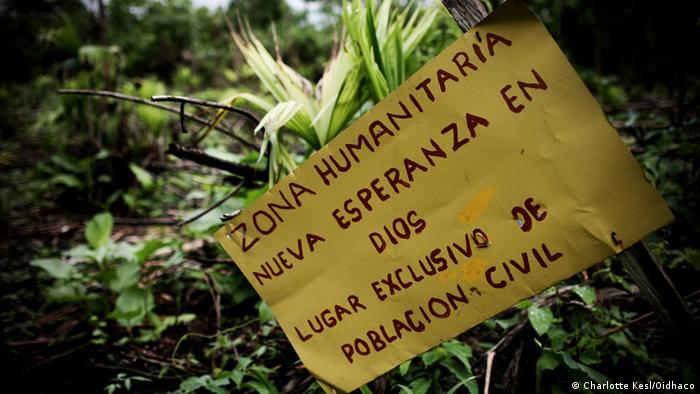 Zona humanitaria Nueva Esperanza en Dios, en el Chocó, Colombia.