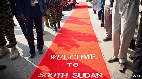 red carpet with print Welcome to South Sudan (Photo: )