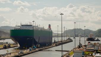 A cargo ship sails through the Miraflores locks of the Panama Canal in Panama City