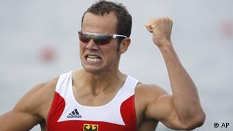 Germany's Max Hoff reacts as he wins his Kayak single 1000m men semifinal at the Beijing 2008 Olympics Wednesday, Aug. 20, 2008. (AP Photo/Robert F Bukaty)