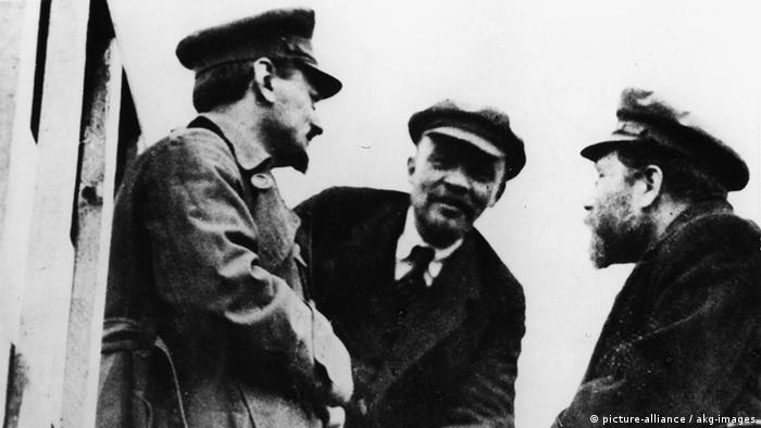 Russian revolutionaries Vladimir Lenin, Leon Trotsky and Lev Kamenev in Petrograd, 1920