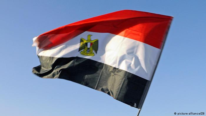 The Egyptian flag flutters in the wind