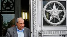 Michel Kilo, a Syrian opposition leader and writer, exits the building of Russia's Foreign Ministry after a meeting with the Russian Foreign Minister, in Moscow, Russia, Monday, July 9, 2012. A delegation of Syrian opposition figures led by Kilo visited Moscow for talks about the ongoing conflict in the Middle Eastern nation. (Foto:Alexander Zemlianichenko/AP/dapd)