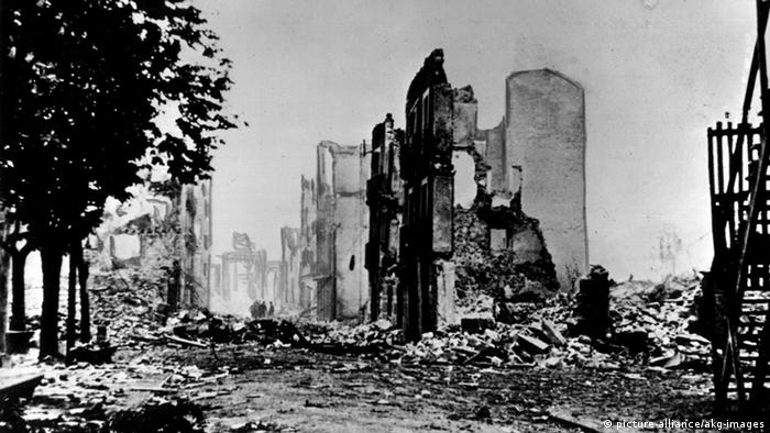 Ruins of buildings in Guernica following the 1937 bombing