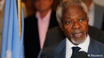 Syrien UN Kofi Annan zu Gespräche in Damaskus Pressekonferenz