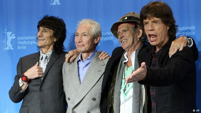 The Rolling Stones pose during a photo call at the Berlinale film festival in Berlin, Germany, Thursday, Feb. 7, 2008. The U.S. film 'Shine a light', a documentary on the British rock group Rolling Stones by U.S. director Martin Scorsese opens the 58th Berlinale film festival, which takes place from Feb. 7 to Feb. 17, 2008. From left to right are: Ron Wood, Charlie Watts, Keith Richards and Mick Jagger. (ddp images/AP Photo/Markus Schreiber)
