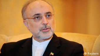 Iranian Foreign Minister Ali Akbar Salehi speaks during an interview with Reuters in Abu Dhabi July 9, 2012. REUTERS/Ben Job (UNITED ARAB EMIRATES - Tags: POLITICS HEADSHOT)